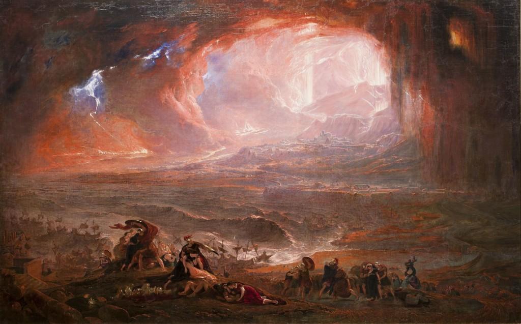 Restored version of John Martin's Destruction of Pompeii and Herculaneum. Via Wikipedia.