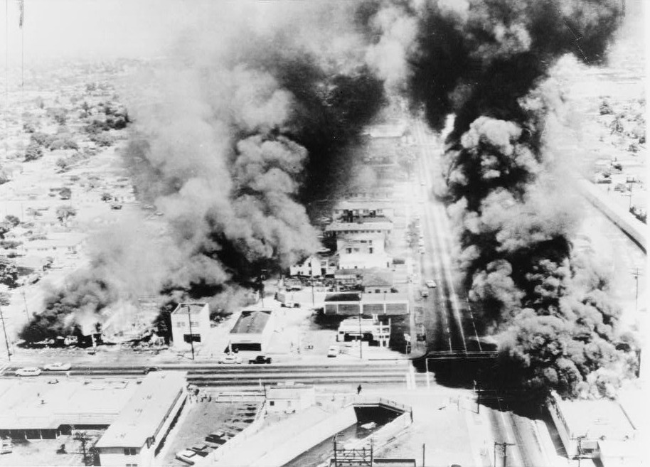 Burning buildings during Watts Riots.  Via Wikipedia.