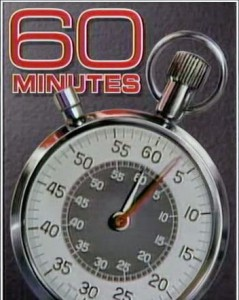 Since 1968, the opening of 60 Minutes features a stopwatch.[5] The Aristo (Heuer) design first appeared in 1978. On October 29, 2006, the background changed to red, the title text color changed to white, and the stopwatch was shifted to the upright position. This version was used from 1992 to 2006 (the Eurostile font text was changed in 1998). Via Wikipedia.