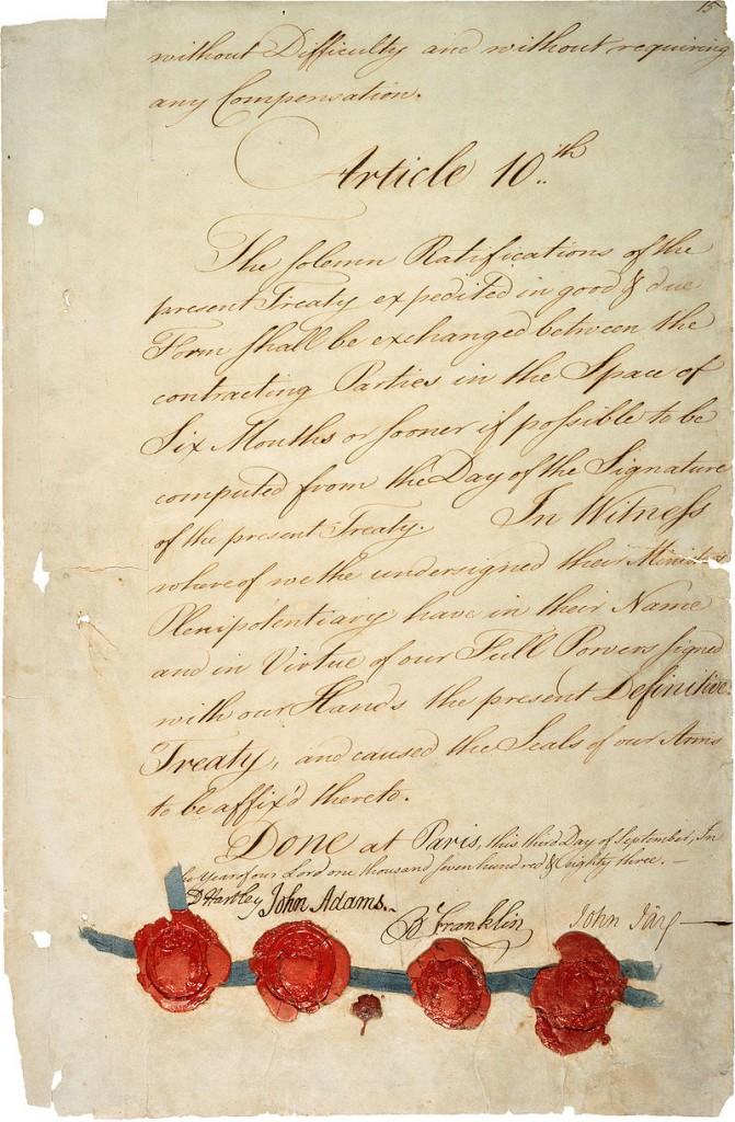 Last page of the Treaty of Paris. Via Wikipedia