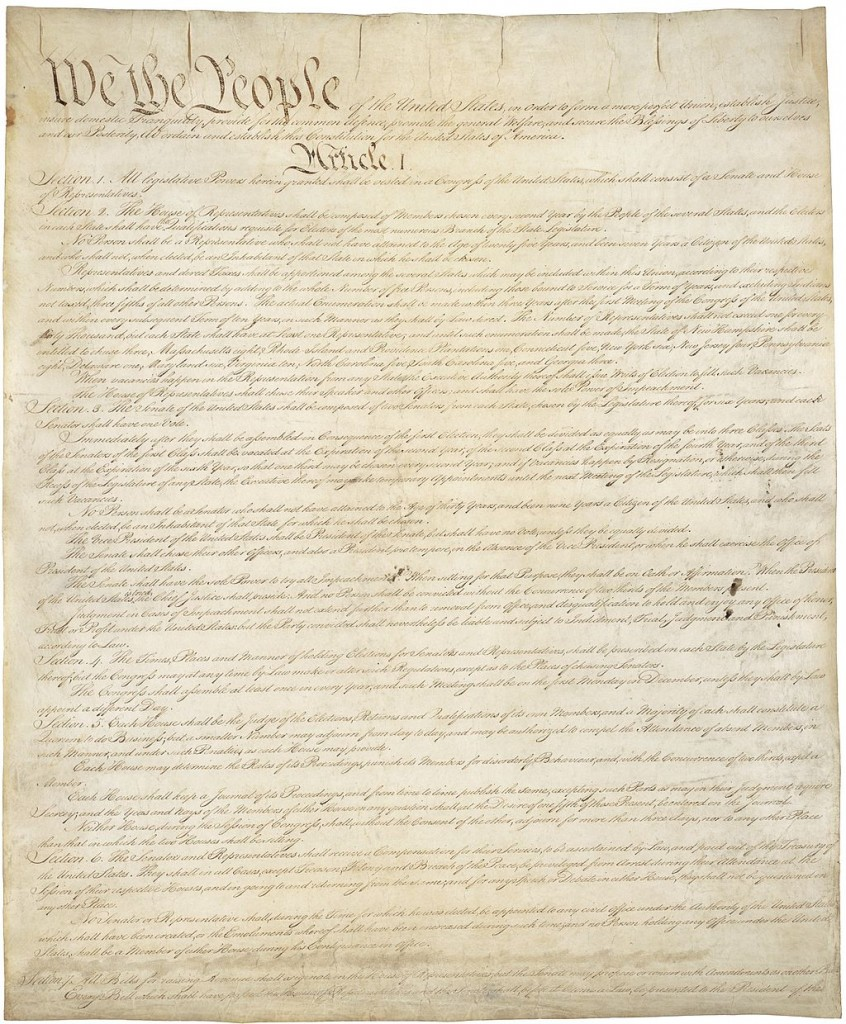 Page one of the original copy of the United States Constitution. Via Wikipedia
