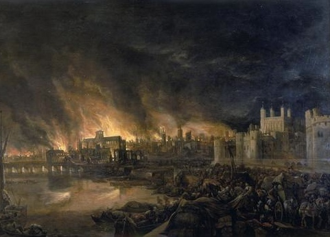 Detail of the Great Fire of London by an unknown painter, depicting the fire as it would have appeared on the evening of Tuesday, 4 September 1666 from a boat in the vicinity of Tower Wharf. The Tower of London is on the right and London Bridge on the left, with St Paul's Cathedral in the distance, surrounded by the tallest flames. Via Wikipedia