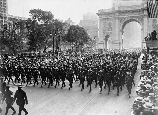 The U.S. Marines are seen on parade on Fifth Avenue in New York, 1919. (AP Photo)