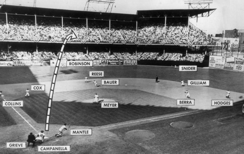 An photograph of Mickey Mantle's grand slam off a Russ Meyer pitch in the third inning of the fifth game of the 1953 World Series at Ebbets Field between the New York Yankees and the Brooklyn Dodgers.  Via Wikipedia