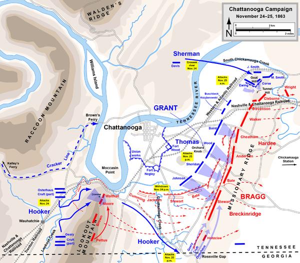 Battles of Chattanooga, November 24–25, 1863. Via Wikipedia