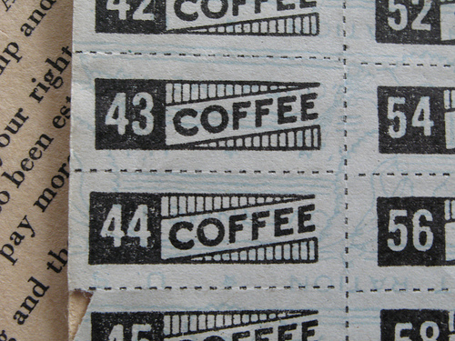 Coffee Ration Stamps. Via CECOM Historical Office, U.S. Army