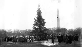 """The first National Christmas Tree,"" lit on December 24, 1923, in the middle of the Ellipse outside the White House."