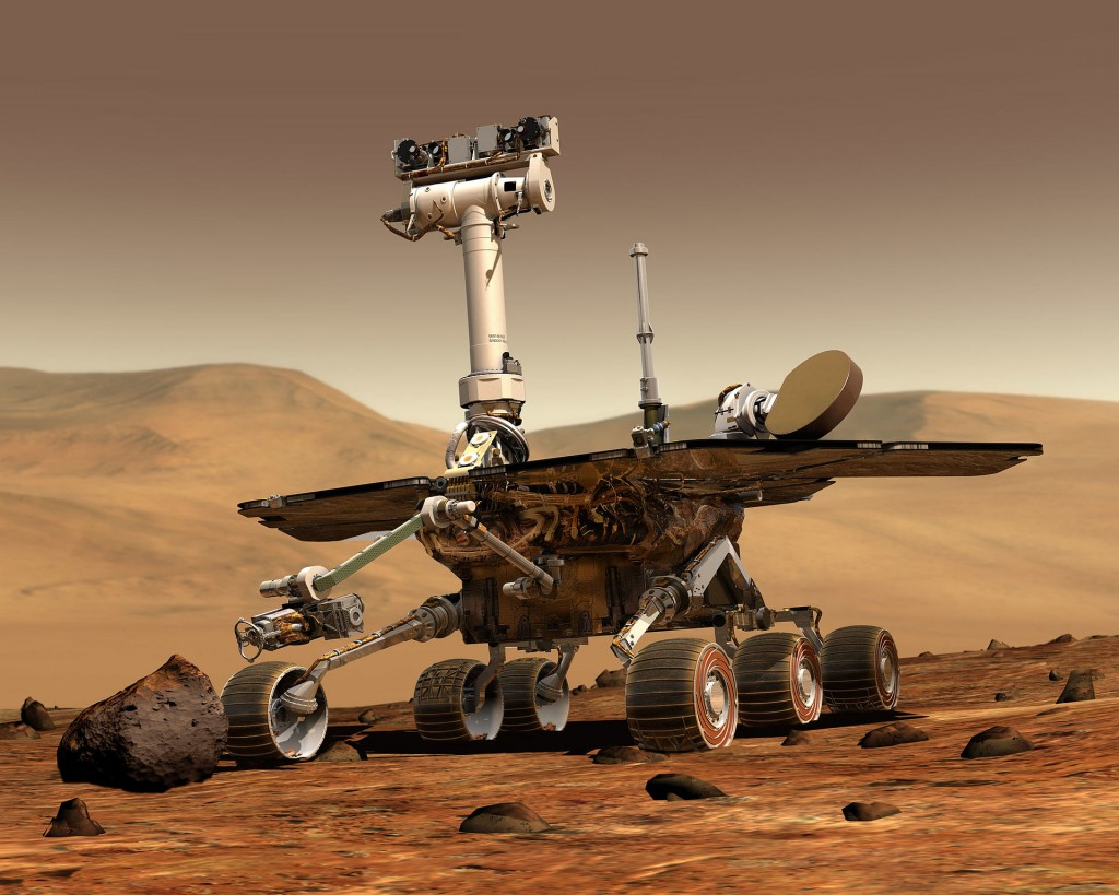 Artistic view of a Mars Exploration Rover on Mars