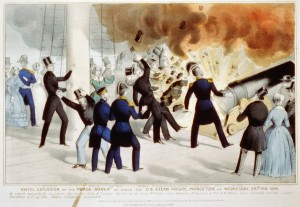 Contemporary lithograph depicting the explosion.
