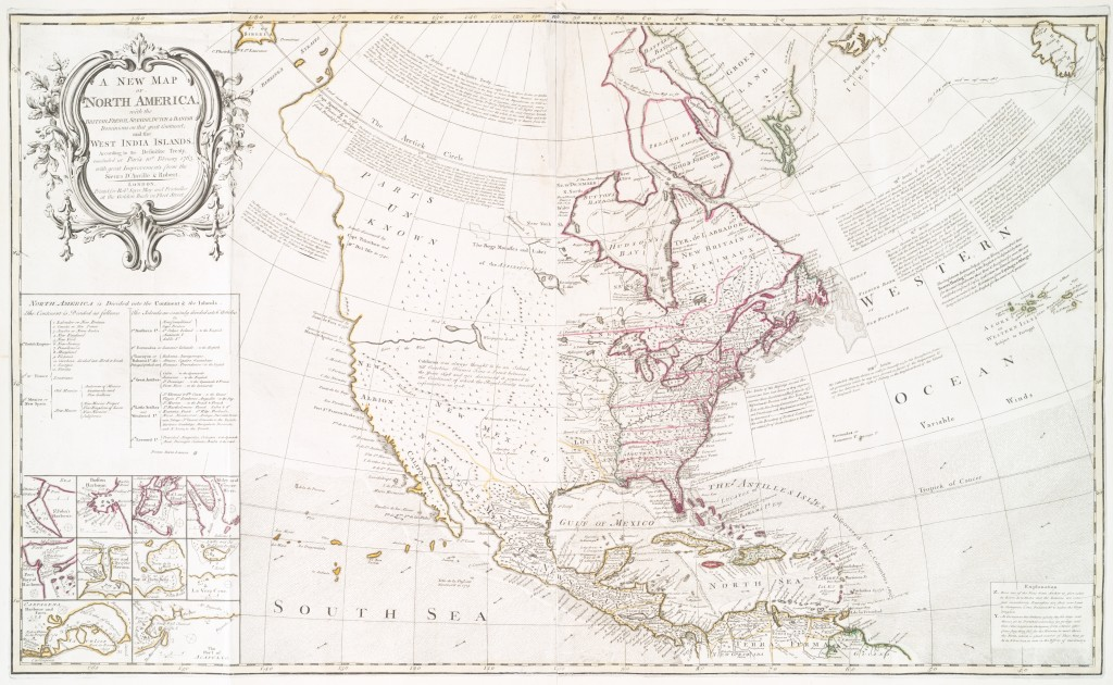 """A new map of North America"" - produced following the Treaty of Paris. Via Wikipedia."