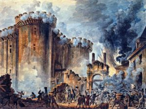 """The Storming of the Bastille"", Visible in the center is the arrest of Bernard René Jourdan, m de Launay (1740-1789).  Via Wikipedia."