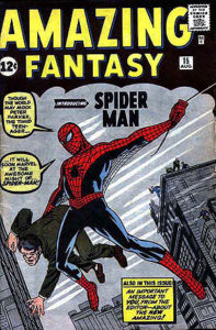 Spider-Man debuts: Amazing Fantasy #15 (Aug. 1962). Cover art by Jack Kirby (penciler) and Steve Ditko (inker). Via Wikipedia.