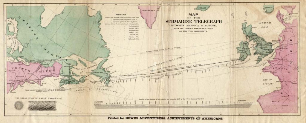 Map of the 1858 trans-Atlantic cable route