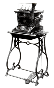 The Sholes and Glidden typewriter as produced by E. Remington and Sons. Via Wikipedia.