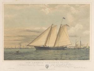 The America, schooner yacht. To John C Stevens, esq Commodore of the New York Yacht Club. Via Wikipedia