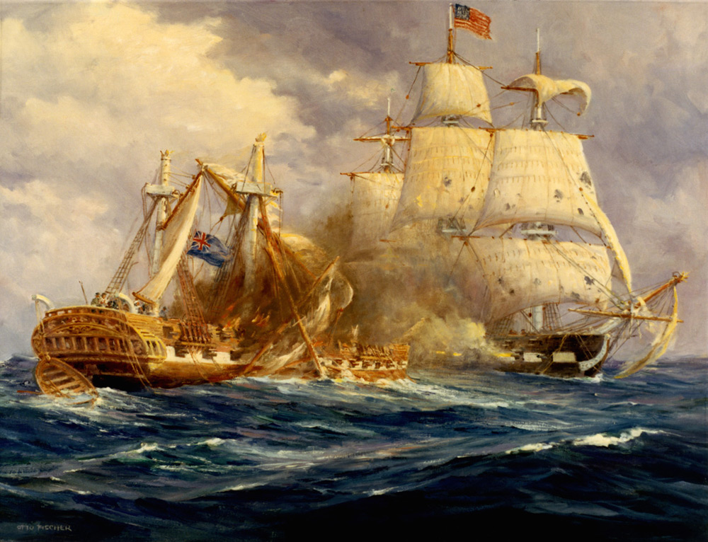 Painter Anton Otto Fischer depicts the first victory at sea by the fledgling US Navy over the Royal Navy.