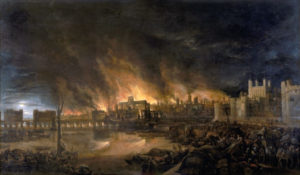 "Detail of the Great Fire of London by an unknown painter, depicting the fire as it would have appeared on the evening of Tuesday, 4 September 1666 from a boat in the vicinity of Tower Wharf. The Tower of London is on the right and London Bridge on the left, with St Paul's Cathedral in the distance, surrounded by the tallest flames. http://www.museumoflondonprints.com/image.php?id=64964&idx=12&fromsearch=true. ""This painting shows the great fire of London as seen from a boat in vicinity of Tower Wharf. The painting depicts Old London Bridge, various houses, a drawbridge and wooden parapet, the churches of St Dunstan-in-the-West and St Bride's, All Hallow's the Great, Old St Paul's, St Magnus the Martyr, St Lawrence Pountney, St Mary-le-Bow, St Dunstan-in-the East and Tower of London. The painting is in the [style] of the Dutch School and is not dated or signed."" Permission details This file is in the public domain, because The painting itself is thought to be from the 17th century, and so in the public domain. In case this is not legally possible: The right to use this work is granted to anyone for any purpose, without any conditions, unless such conditions are required by law. Please verify that the reason given above complies with Commons' licensing policy.View more Public Domainview terms File:Great Fire London.jpg Created: 31 December 1699."