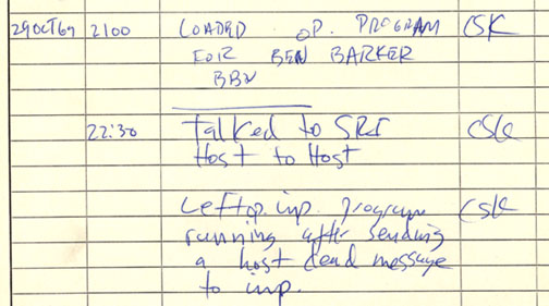 Historical document: First ARPANET IMP log: the first message ever sent via the ARPANET, 10:30 pm, 29 October 1969. This IMP Log excerpt, kept at UCLA, describes setting up a message transmission from the UCLA SDS Sigma 7 Host computer to the SRI SDS 940 Host computer.