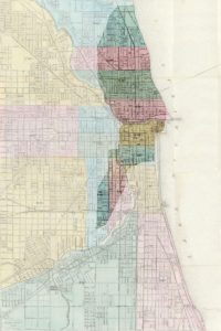 1868 map of Chicago, highlighting the area destroyed by the fire (location of O'Leary's barn indicated by red dot).