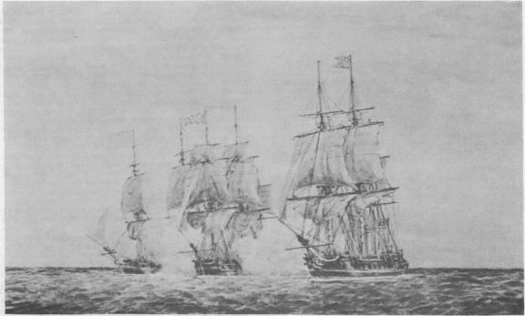 Continental frigates Hancock and Boston capturing British frigate Fox, June 7, 1777.