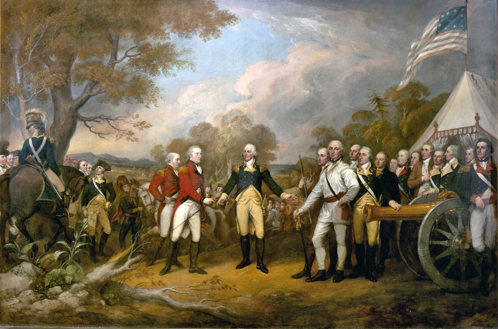 The scene of the surrender of the British General John Burgoyne at Saratoga, on October 17, 1777, was a turning point in the American Revolutionary War that prevented the British from dividing New England from the rest of the colonies. The central figure is the American General Horatio Gates, who refused to take the sword offered by General Burgoyne, and, treating him as a gentleman, invites him into his tent.