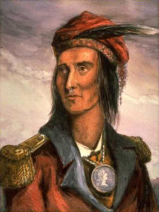 A version of Lossing's engraving (in wood) of Shawnee chief Tecumseh with water colors on platinum print. Via Wikipedia.