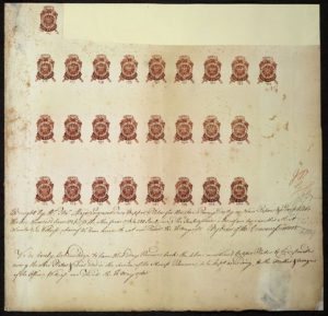 Proof sheet of one-penny stamps submitted for approval to Commissioners of Stamps by engraver. 10 May 1765.