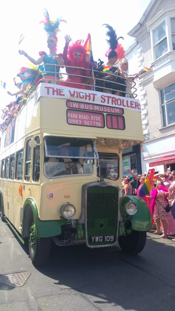 Vintage bus at Isle of Wight Pride parade 2018