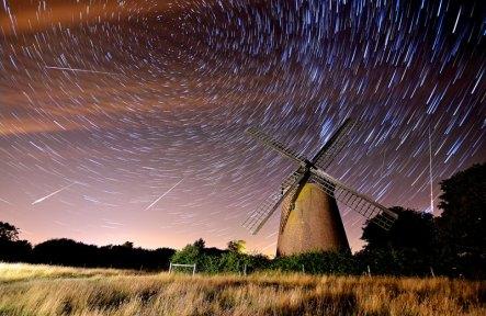 Perseid Meteor Shower over Bembridge Windmill