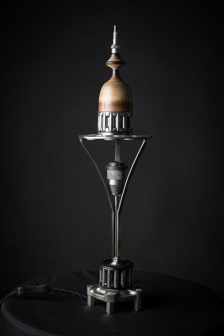 lampe vintage bois et métal