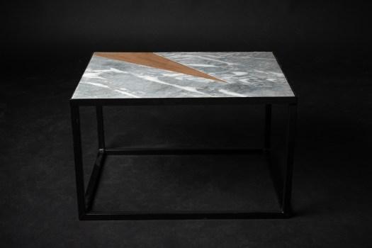 table basse en marbre bois et métal