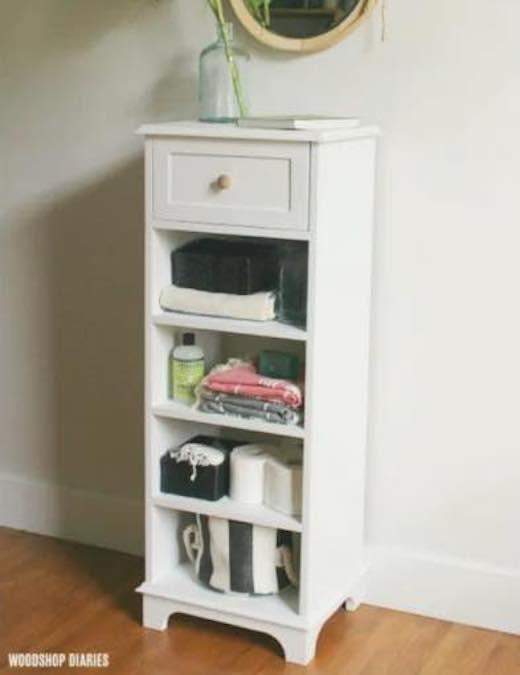 Linen Shelf Cabinet - Free Woodworking Plan.com on Corner Sconce Shelf Cabinet id=31398
