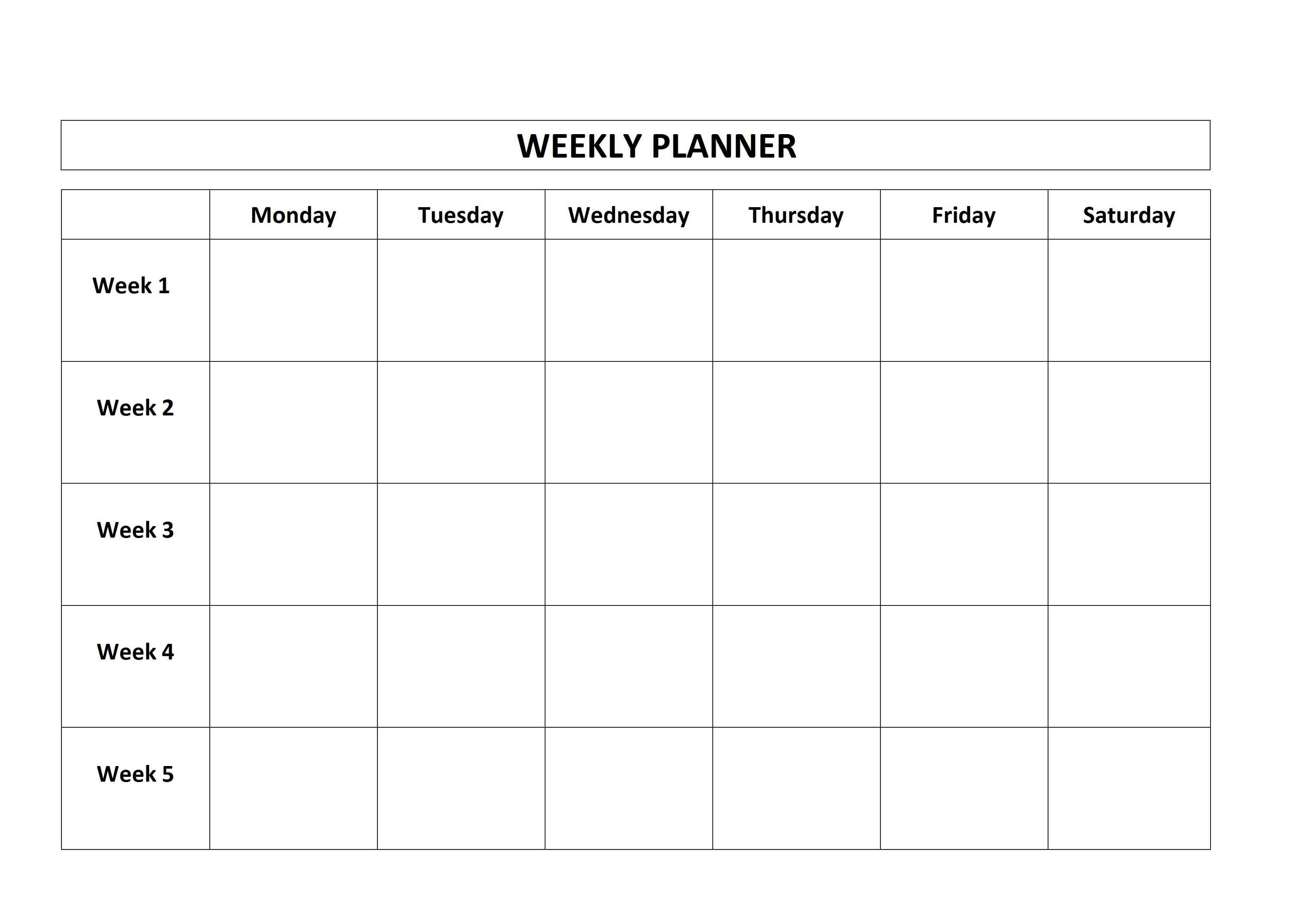 Simple Weekly Planner Form