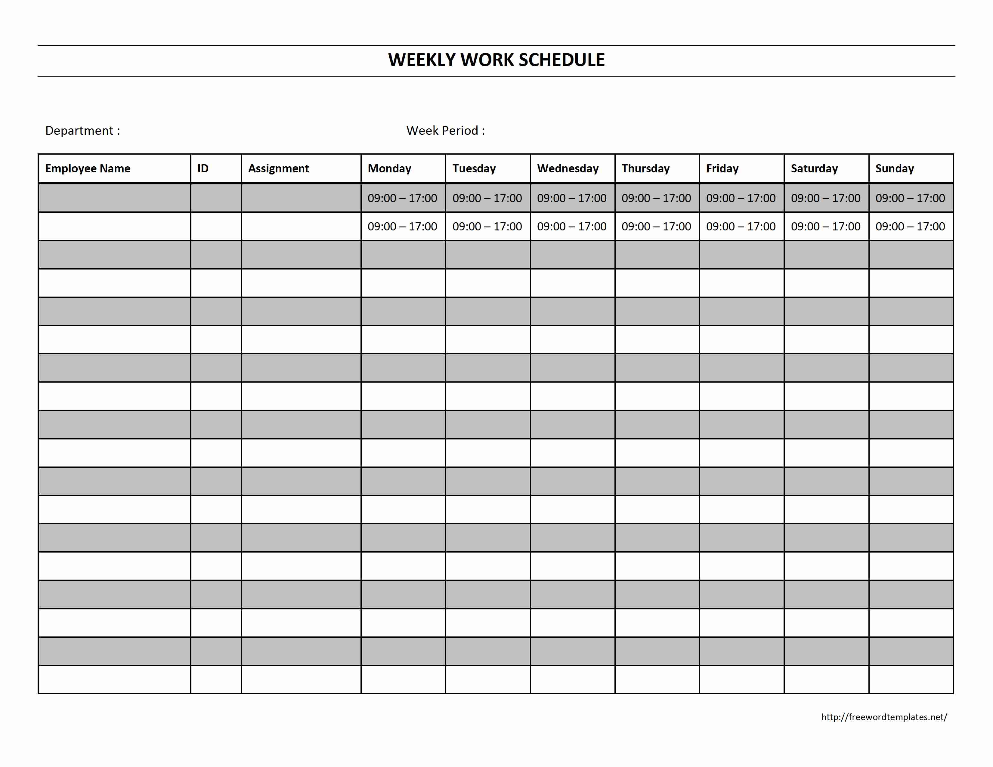 Weekly Work Schedule