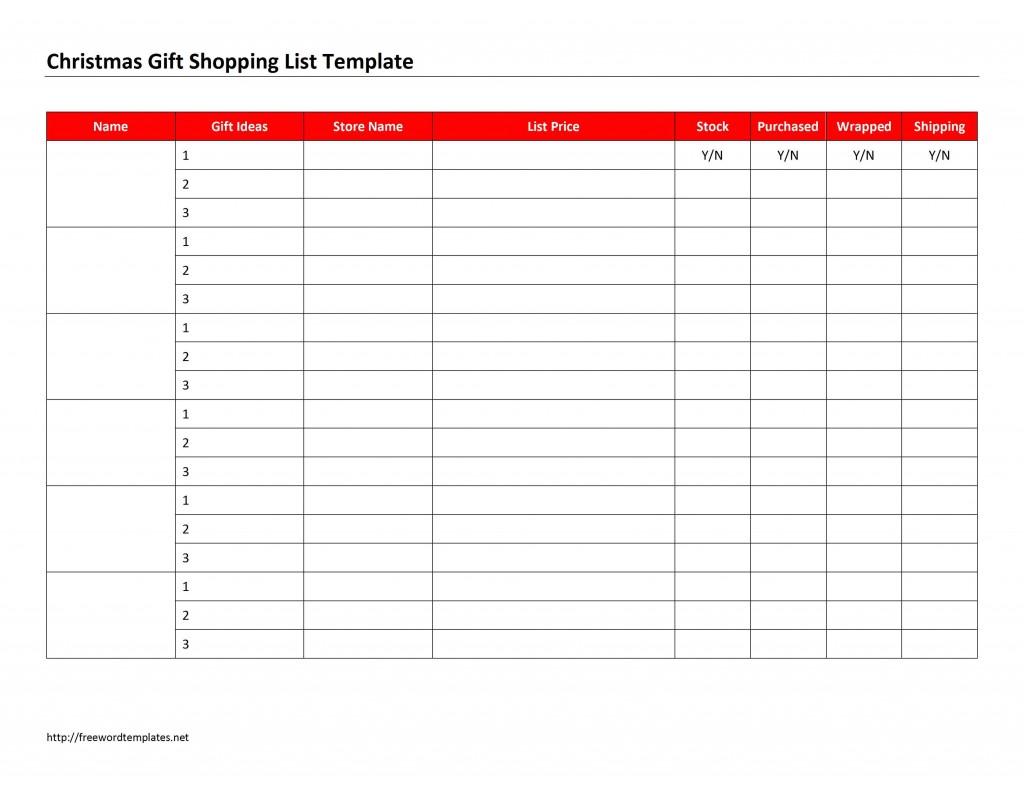 Christmas T Shopping List