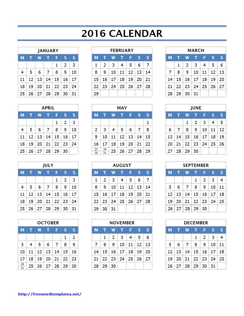 2016 Calendar Templates | Word Templates | Free Word ...