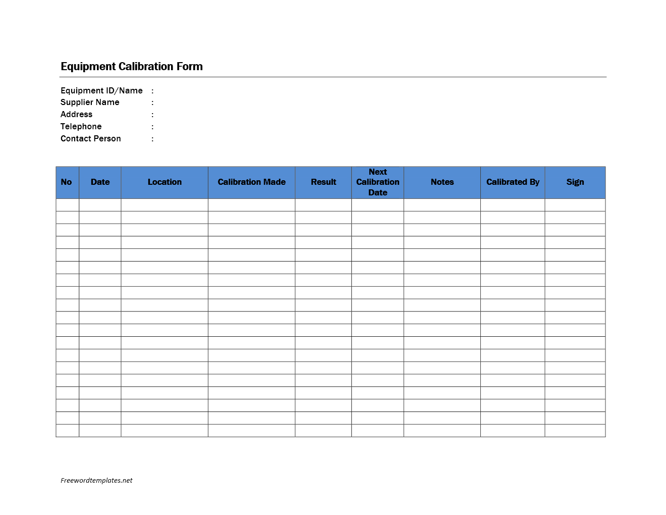 Equipment Calibration Form