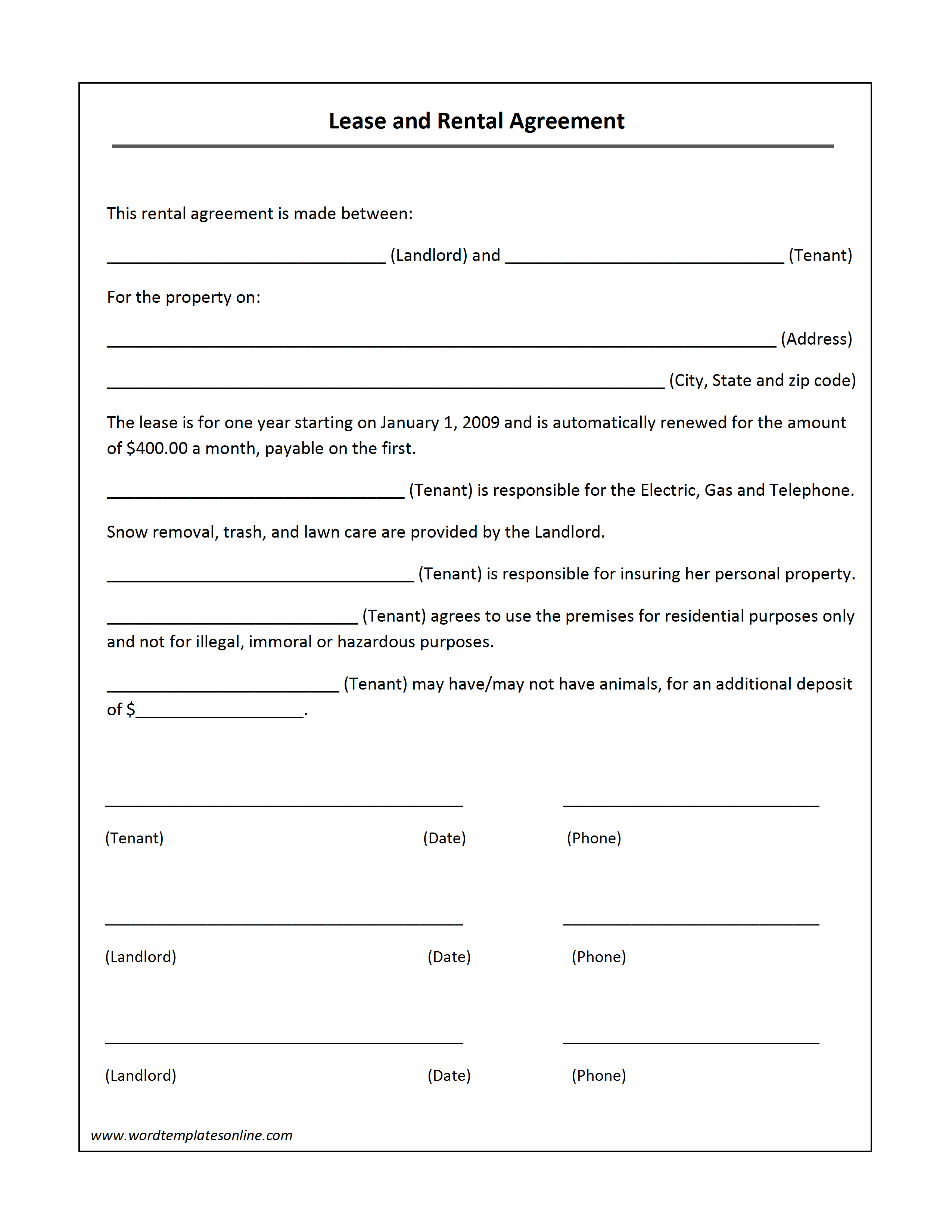Doc736952 Printable Rental Lease Agreement Printable Sample – Free Printable Rental Lease Agreement