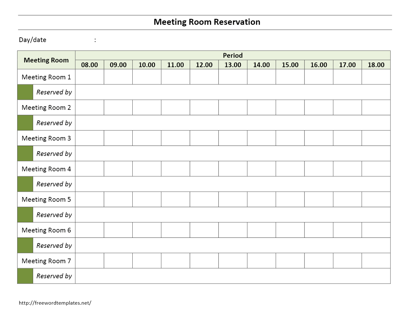 Meeting Room Reservation Form