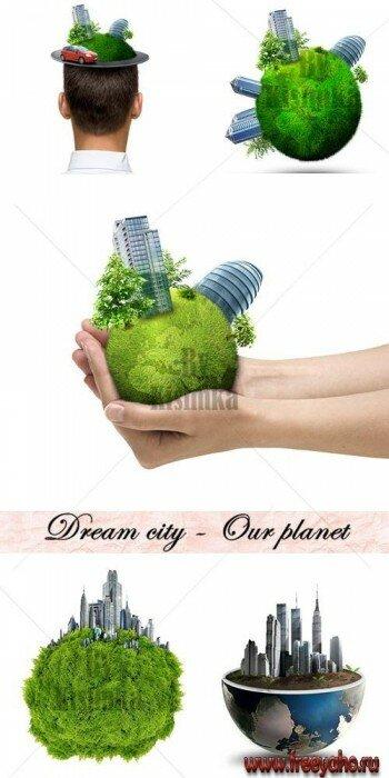 Скачать Зеленая планеты и здания - растровый экологический ...