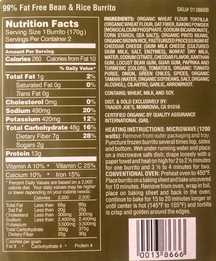 fat free bean rice burrito review
