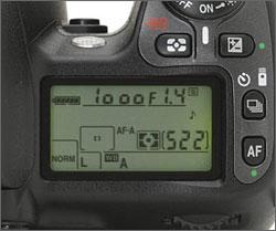 Het LCD-schermpje op een D80