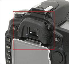 De zoeker op een Nikon D80
