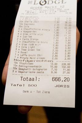 Rekening: 666,20 euro