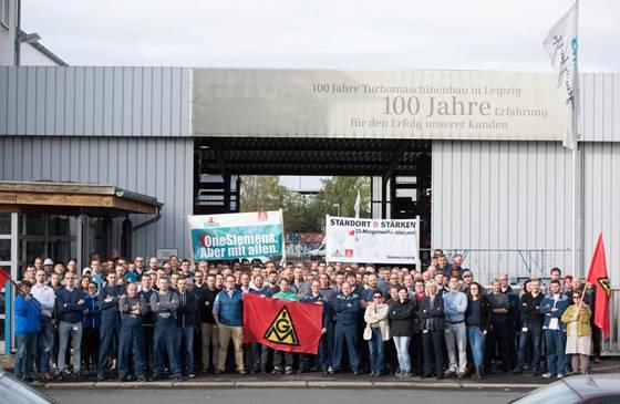 Siemens in Plagwitz demonstrierte gegen die Schließung durch den Mutterkonzern.