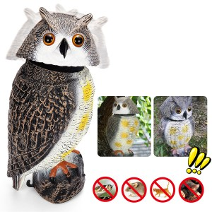 Rotating Head Simulation Owl Realistic Nagetier Abschreckende Angst Outdoor Garden Hunting Decoy