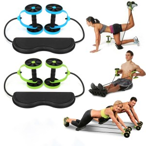 2 In 1 Abdominal Wheel Roller Resistance Bands Fitness Muskeltraining Double Wheel Strength Exercise Tools