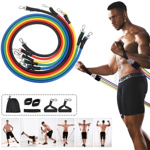 11 Stück Fitness Resistance Bands Set Gym Workout Pull Rope Übung Elastic Band Max Load 100lb