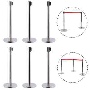 6 Red Retractable Queue Belt Barrier Polished Stainless Stand