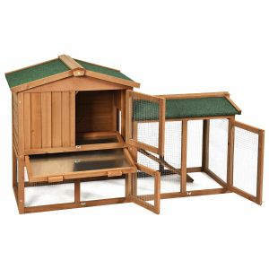 2 Floors Wooden Poultry / Rabbit Hutch with Removable Ramp